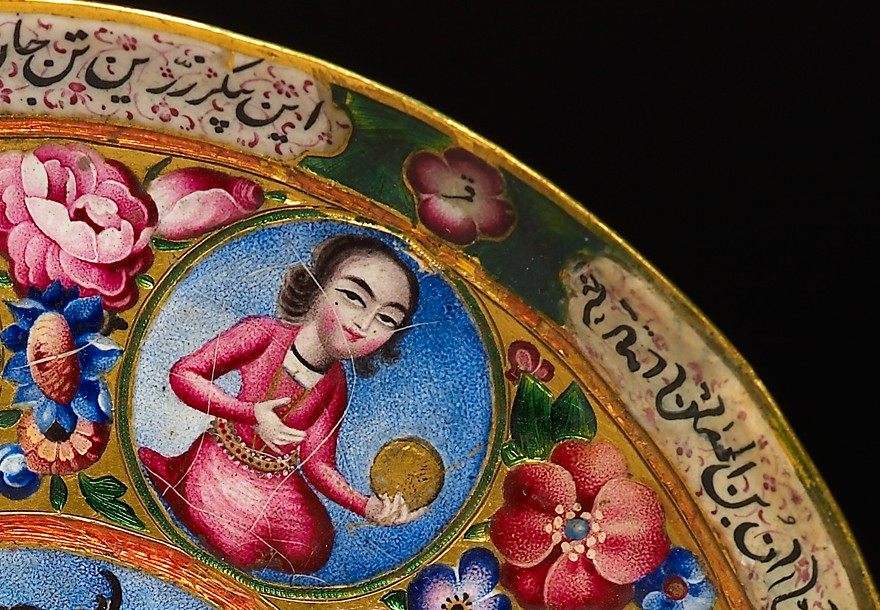 Qajar saucer with astrological motifs, Iran, early 19th century (Museum no. EA2009.3)