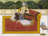 Detail of 'A lady smoking a hookah on a terrace by a lake', late 18th century (Museum no: EA2012.31)
