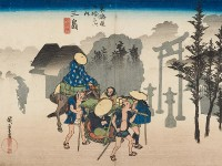 Detail of 'Morning Mist at Mishima', by Utagawa Hiroshige I, 1833-1834 (Museum no: EAX.4269)