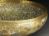 Detail from Satsuma-style bowl with flowers and butterflies, Japan, c. 1900 (Museum number: EA1967.23)