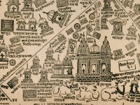 Detail of Pilgrim map of Varanasi, or Benares, early 20th century, north India, (Museum no: EA1966.5