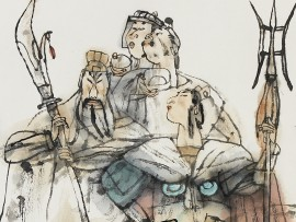 Detail of Heroes from The Water Margin, by Shi Dawei, Shanghai, 2003 (Museum No: EA2007.194)
