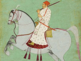 Detail of Maharaja Dhiraj Singh riding, Raghugarh, India, c.1700 (Museum No: LI118.34)
