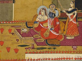 Krishna and Radha on Diwali night, Jaipur, early 20th century (Museum no: EA2003.29)