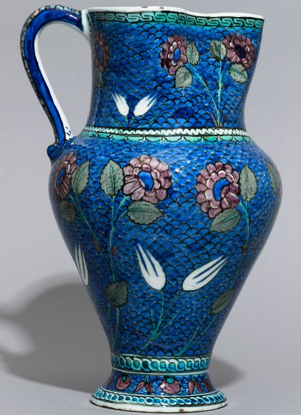 Jug with flowers against a fish-scale background, probably Iznik, Turkey, 1530-1550 (Museum no. EAX.