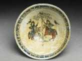 Bowl with paired riders inscribed with good wishes