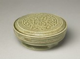 Greenware circular box and lid with floral design (EA1956.1215)