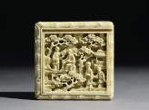 Ivory puzzle box with figures in a garden