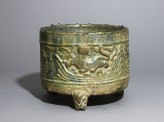 Three-legged basin, or lian, with tigers and mountains in relief (EA1956.3100)