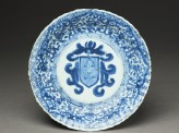 Blue-and-white dish with the Portuguese arms of Pinto (EA1962.100)