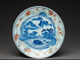 Dish with river scene