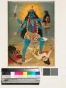 Kali, with three eyes and four arms, treading Sadashiva underfoot