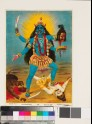 Kali, with three eyes and four arms, treading Sadashiva underfoot