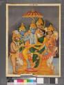 Rama seated with Sita, Bharat, Lakshmana, Hanuman, and Shatrughna