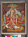 Ganesha carrying a chakra, mace, conch, and red lotus