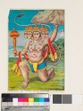 The five-headed Hanuman holding up the mountain