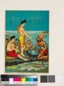 Hanuman writes Rama's name on the rock