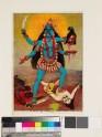 Kali treading Sadashiva underfoot