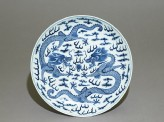 Blue-and-white dish with dragons chasing a flaming pearl