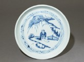 Blue-and-white dish with a figure in a landscape (EA1973.5)