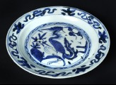 Blue-and-white plate with a crane