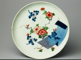 Plate with an open scroll and flowers