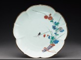 Lobed plate with chrysanthemums and a grasshopper