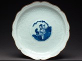 Foliated plate with harlequin and monkey