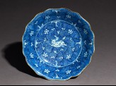 Blue-and-white dish with leaping horse