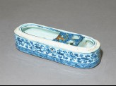 Blue-and-white pen box with foliage and scrolls