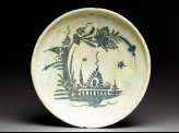 Dish with boat-like floral design
