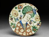 Base fragment of a dish depicting a man wearing a turban (EA1978.2292)