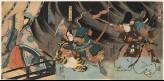 Minamoto no Yorimasa and Ii no Hayata slay the nue, while Ayame no Mae looks on (EA1983.37)