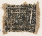 Textile fragment with rectangle and linked diamond-shapes