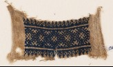 Textile fragment with band of diamond-shapes and linked crosses