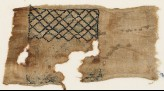 Textile fragment with grid of diagonal lines