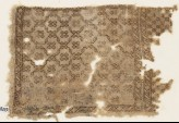 Textile fragment with diagonal grid of lozenges