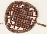 Textile fragment with diamond-shapes and linked quatrefoils, possibly a jar cover (EA1984.62)