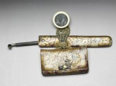 Tobacco pouch, pipe, and case, attached to a netsuke