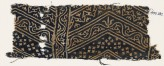 Textile fragment with linked chevrons, vine, and stars (EA1990.132)