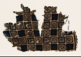 Textile fragment with linked squares, stylised flower-heads, and lines with dots (EA1990.144)