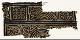 Textile fragment with squares with quatrefoils, rectangles, and swirling tendrils (EA1990.196)