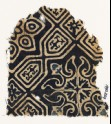 Textile fragment with an elaborate quatrefoil and tab-shapes (EA1990.207)