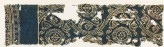 Textile fragment with lotus vines, medallions, rosettes, and inscription