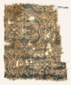 Textile fragment with linked medallions, stylized leaves, and squares (EA1990.248)