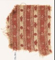 Textile fragment with bands of flowers and circles
