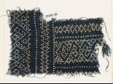 Textile fragment with dots arranged in geometric patterns