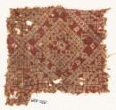 Textile fragment imitating bandhani, or tie-dye, with squares (EA1990.628)