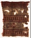 Textile fragment with bands of arches, a vine, a circle, and poles