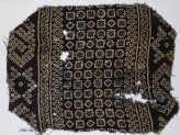 Textile fragment with diamond-shapes, squares, circles, and bandhani, or tie-dye, imitation